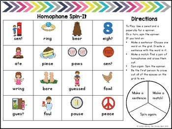 Free Homophone and Homonym Spinner Games