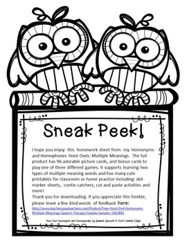 Hoot Owl Homonyms Freebie: Multiple Meaning Words for Speech Therapy