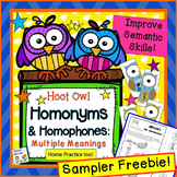 Hoot Owl Homonyms Freebie: Multiple Meaning Words for Spee