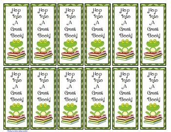 Free Hop Into A Great Book - Bookmarks