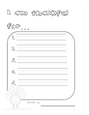 Free! I am thankful for Activity Sheet w/ Writing Lines