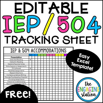 Free Editable IEP/504 Accommodations Tracking Chart