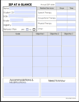 FREE EDITABLE IEP AT A GLANCE