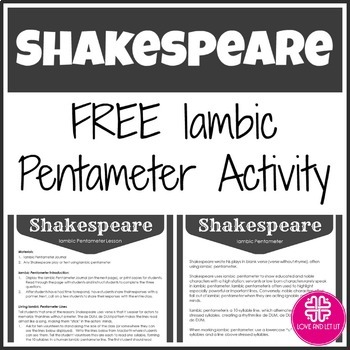 Free Iambic Pentameter Shakespeare Lesson and Activity
