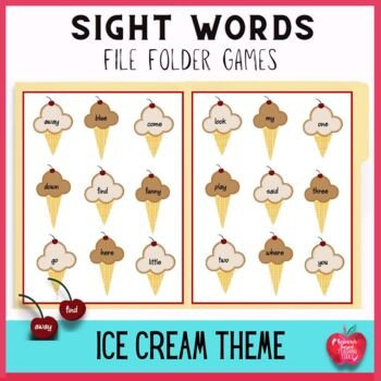 Free Ice Cream Bliss! Primer Dolch Word File Folder Game