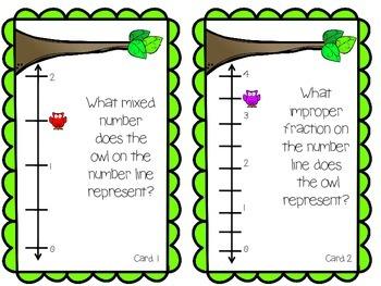 Improper Fractions on a Number Line Task Cards