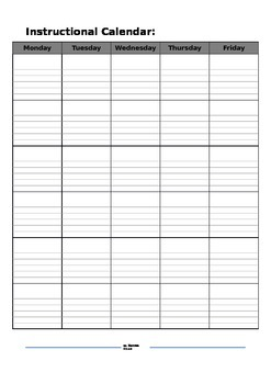 Free Instructional Calendar for Unit Planning