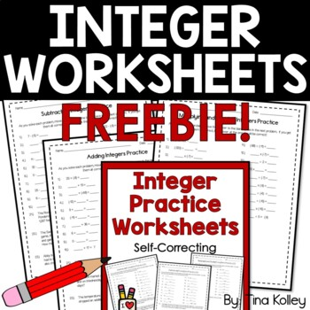 Free Integer Self-Correcting Practice Worksheets