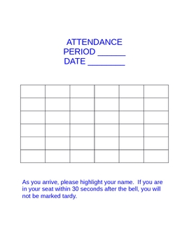Free Interactive Attendance/Seating Template-Word Document by ...