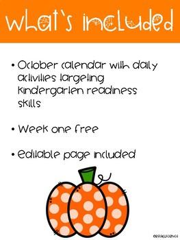 Free Interactive October Kindergarten Readiness Notebook