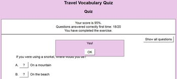 Free Interactive Quiz for Vocabulary of Travel