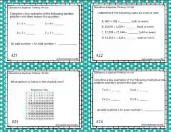 Free Math Intervention or Test Prep Task Cards NWEA RIT Band 180-200
