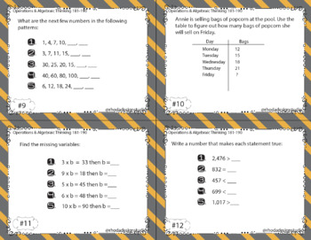 NWEA Map Math Test Prep Task Cards RIT Band 180-200 Interventions