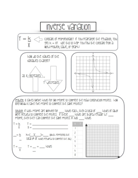 Free Inverse Variation Interactive Notebook Printable