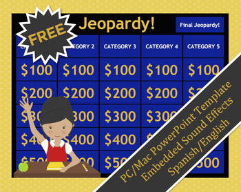 free jeopardy template (english/spanish)spanish edtech | tpt, Powerpoint templates