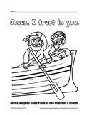 Free Jesus Asleep in the Boat Printable from Charlotte's Clips