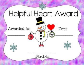 Free Jolly Student Snowman Awards