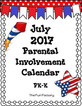 Free ~July 2017 Homework Calendar PK/K