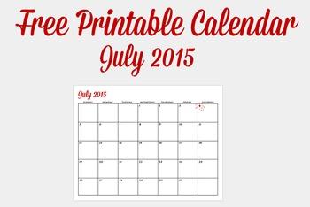 Free July Printable Calendar