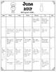 Free ~June 2017 Homework Calendar PK/K
