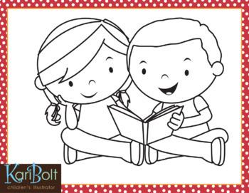 Free Kids Reading Clip Art Single