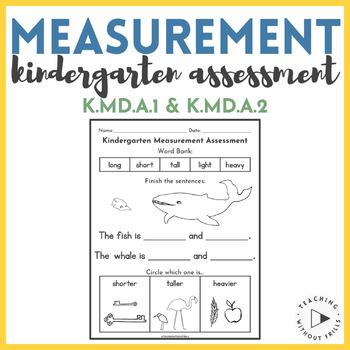 Free Kindergarten Measurement Assessment K.MD.A.1 and K.MD.A.2