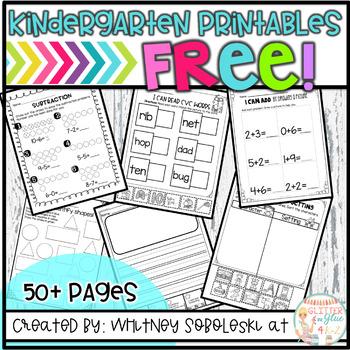 Free Kindergarten Printables for Distance Learning