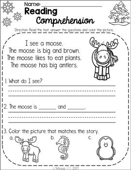 Free Kindergarten Reading Comprehension Passages - Winter