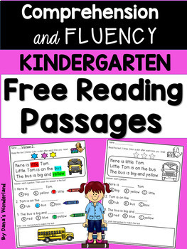 Free Kindergarten Reading Comprehension and Fluency Passages
