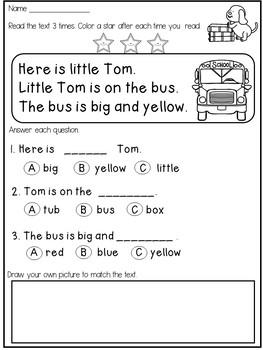 Reading Comprehension Worksheets Kindergarten Free Printable