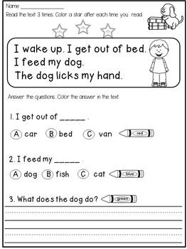 free kindergarten reading comprehension and fluency passages tpt. Black Bedroom Furniture Sets. Home Design Ideas