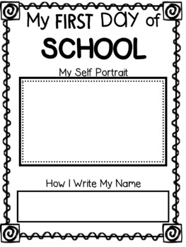 Free Kindergarten Self Portrait and Name Page
