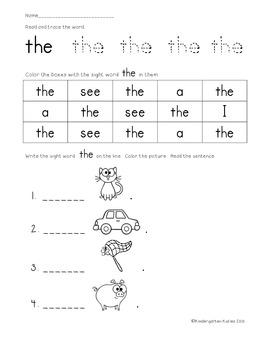 Free Kindergarten Sight Word Activity