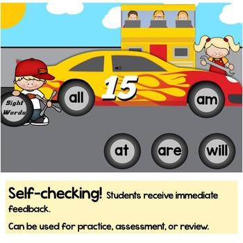 Free Kindergarten Sight Words Practice Digital Boom Cards Sample