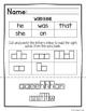 Free Kindergarten Word Work - No Prep Sight Words Worksheets