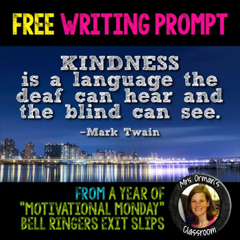 Free Kindness Quote Writing Prompt #kindnessnation #weholdthesetruths