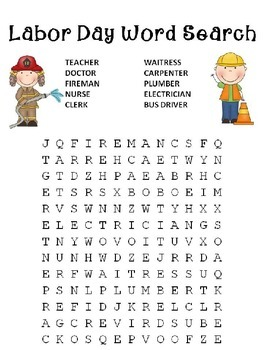 Free Labor Day Word search