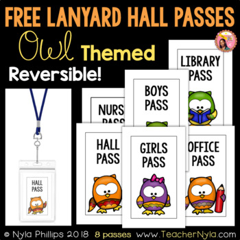 Free Lanyard Hall Passes - Owl Theme