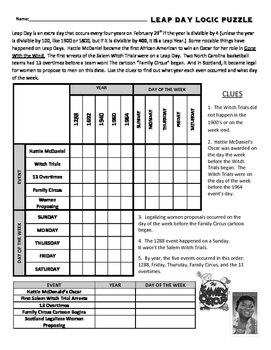 Free Leap Day Logic Puzzles