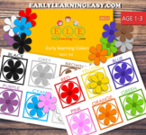 Free Learning Colors for Toddlers with Flowers Age 1-3