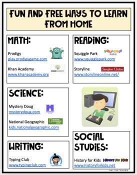 Fun and Free Ways to Learn from Home - Flyer