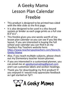 Free Teacher Planner Calendar Single Subject