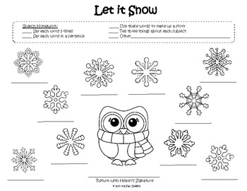 Free Let it Snow Homework Sheet