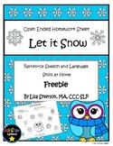 Free Let it Snow Homework Sheet