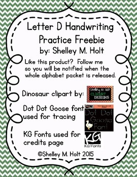 Free Letter D Handwriting Practice - Large Line