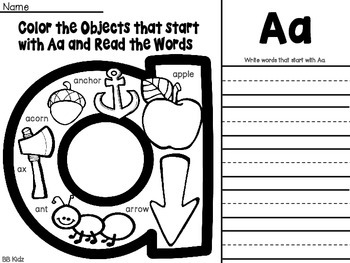 Free Letter page / Color and write the words / Letter Sear