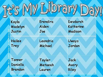 Free Library Day Rotation Chart ~ Editable PDF