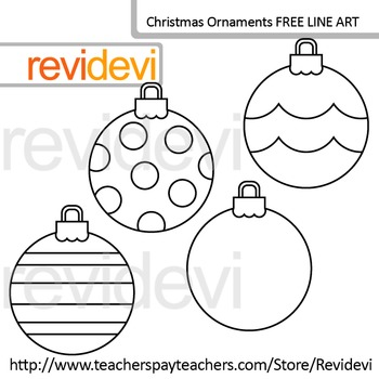 Free Line Art - Coloring Clip Art / Christmas Ornaments (set of 4)