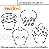 Free Line Art - Coloring Clip Art / Simple Cupcakes (set of 4)