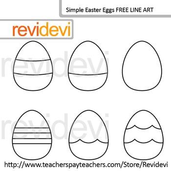 Free Line Art - Simple Easter Eggs Hunt (set of 6) - Coloring Clip art